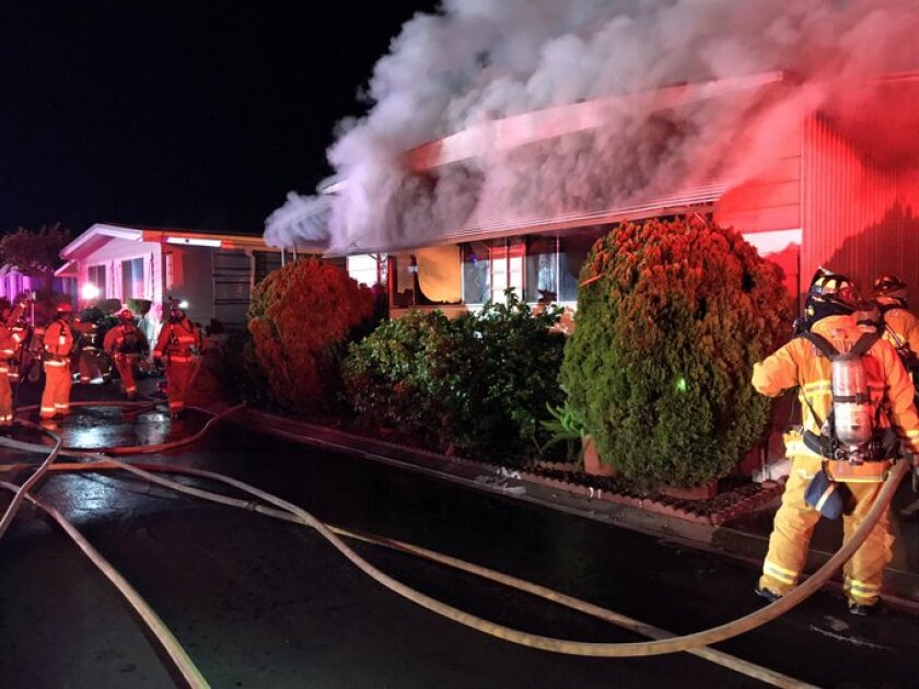 Fire crews responded to a blaze Monday night at a mobile home off Otay Lakes Road near state Route 125.