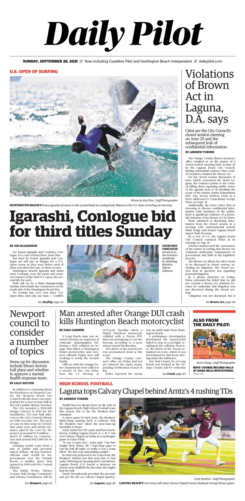 Front page of Daily Pilot e-newspaper for Sunday Sept. 26, 2021.
