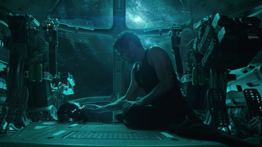 """This image released by Disney shows Robert Downey Jr. in a scene from """"Avengers: Endgame."""" (Disney/M"""
