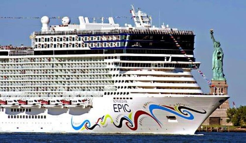 The Norwegian Epic took its maiden voyage in July. It is 1,080 feet long, with 19 decks and a capacity of 4,100 passengers.