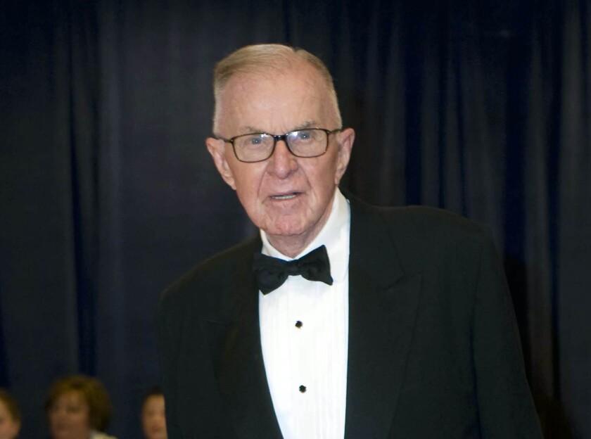 John McLaughlin arrives at the White House Correspondents' Association Dinner in Washington on April 28, 2012.