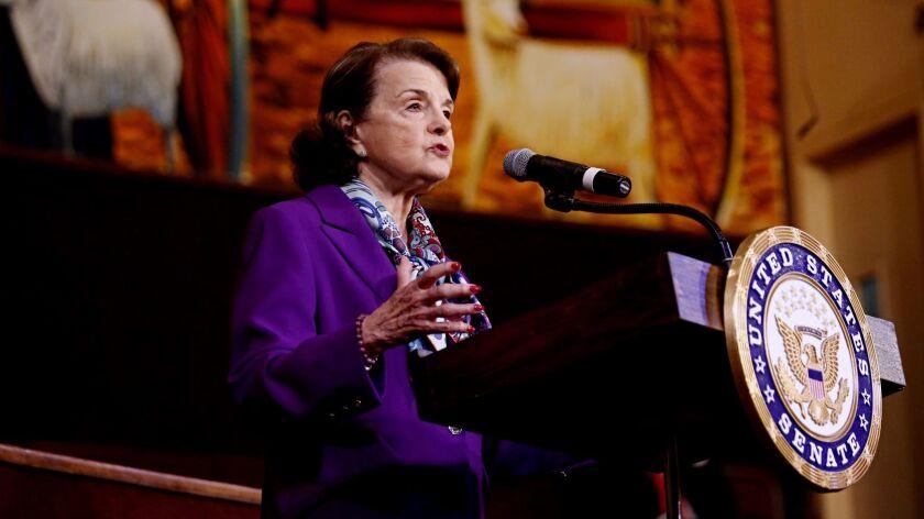 California's senior senator meets voters at a town hall meeting last week in Los Angeles.