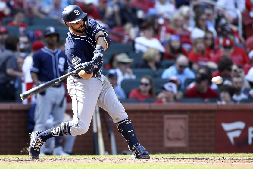 Austin Hedges belts a two-run homer Saturday to help Padres defeat St. Louis.