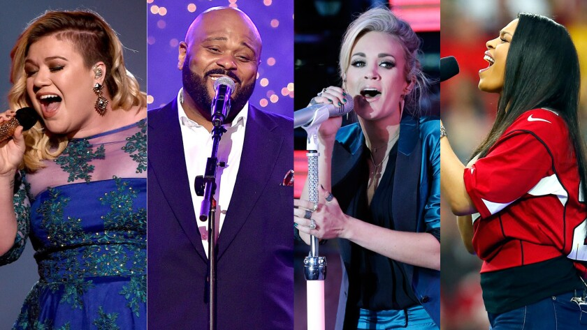 """Former """"American Idol"""" winners, from left, Kelly Clarkson, Ruben Studdard, Carrie Underwood and Jordin Sparks are among the franchise's most recognizable talent."""