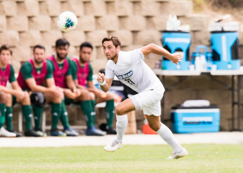USD midfielder George West competes against Sacramento State last year.