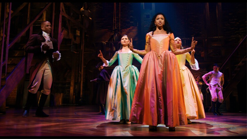 """Renée Elise Goldsberry, center, performs the standout song """"Satisfied"""" in """"Hamilton."""""""