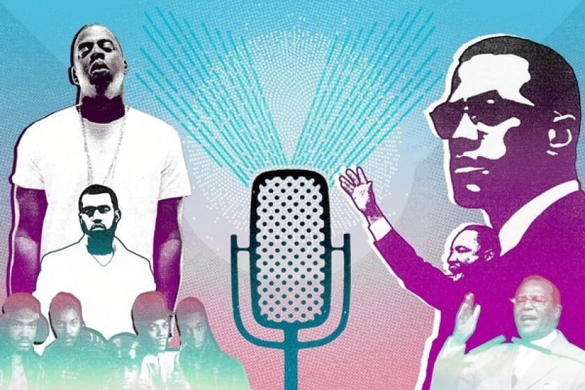 """Illustration for the review of """"The Anthology of Rap"""" and """"Preaching with Sacred Fire."""""""