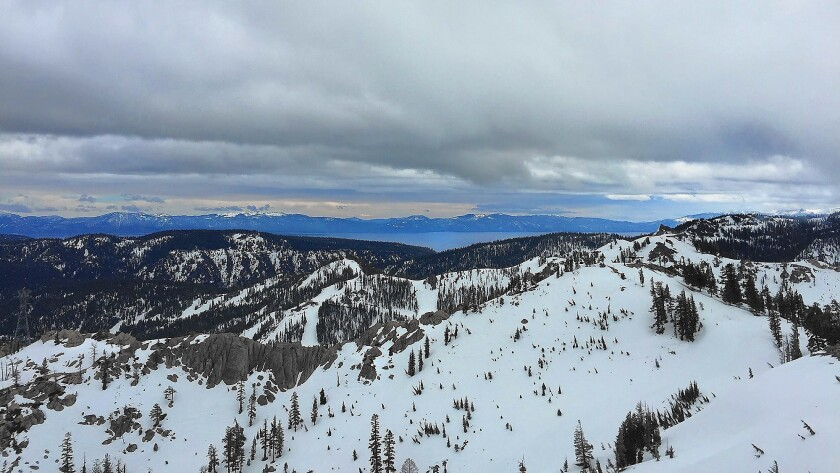 A view of Lake Tahoe from the top of the tram at Squaw Valley in early March.