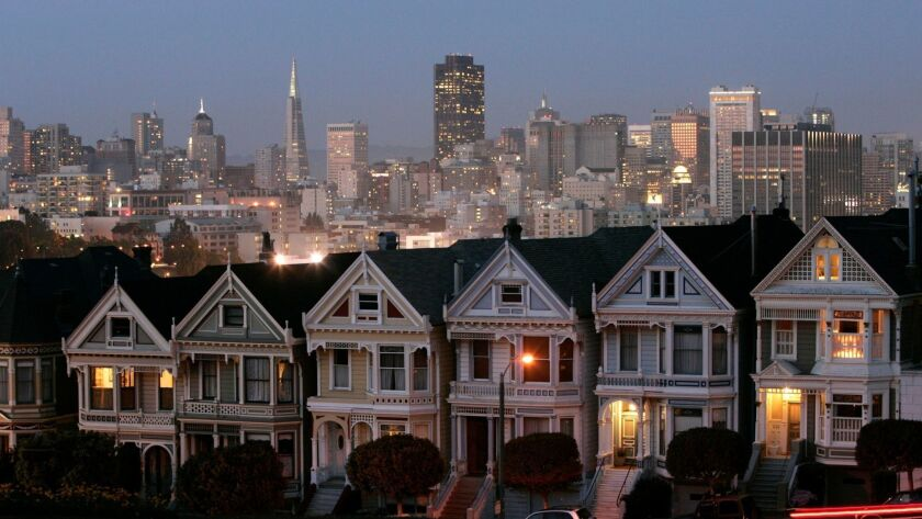 """FILE - In this Monday, May 12, 2008 file photo, the """"Painted Ladies,"""" a row of historical Victorian"""