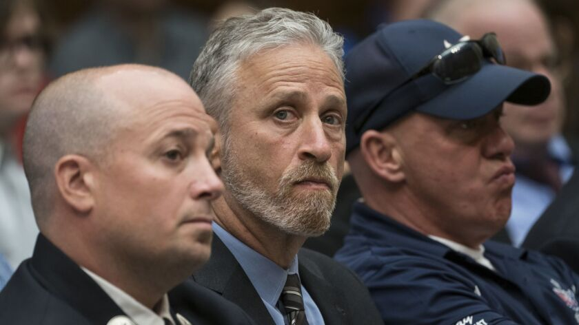 Jon Stewart attended a House Judiciary Committee meeting June 11 in support of 9/11 first responders.