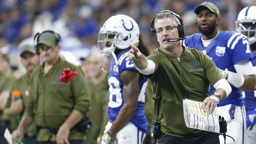 Colts head coach Frank Reich throws the challenge flag during a game against the Jaguars last season.