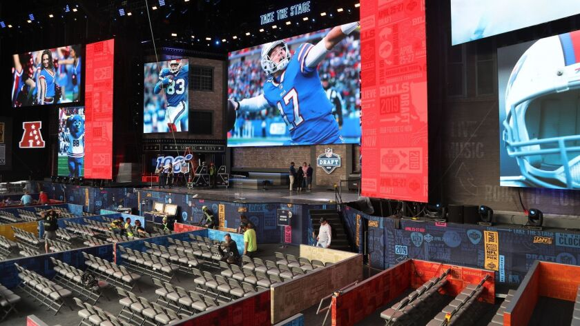 A general view of the main stage being constructed for the NFL Draft on Tuesday, April 23, 2019 in N