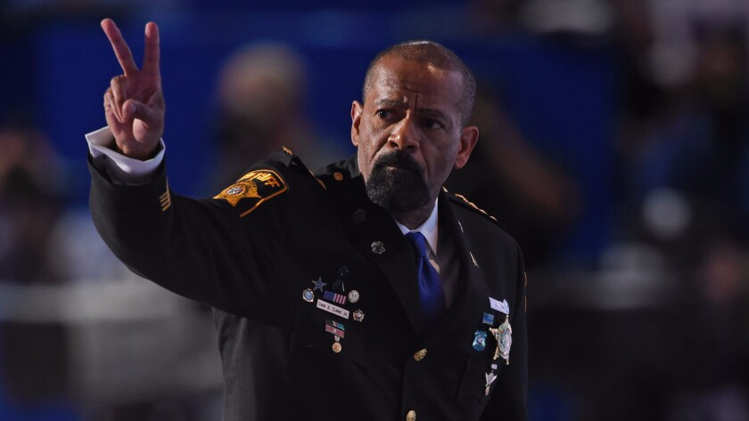 Milwaukee County Sheriff David Clarke was one of the few black speakers at the Republican National Convention in Cleveland in July.