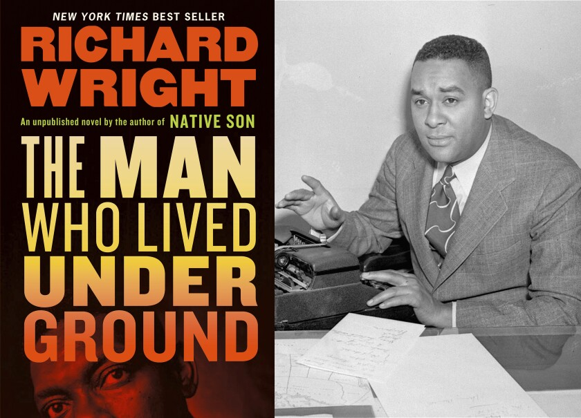 """The cover of """"The Man Who Lived Underground"""" next to a black-and-white photo of author Richard Wright at a typewriter."""