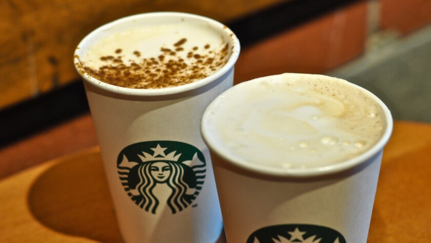 From left, Starbucks' pumpkin spice latte and the new toasted graham latte.