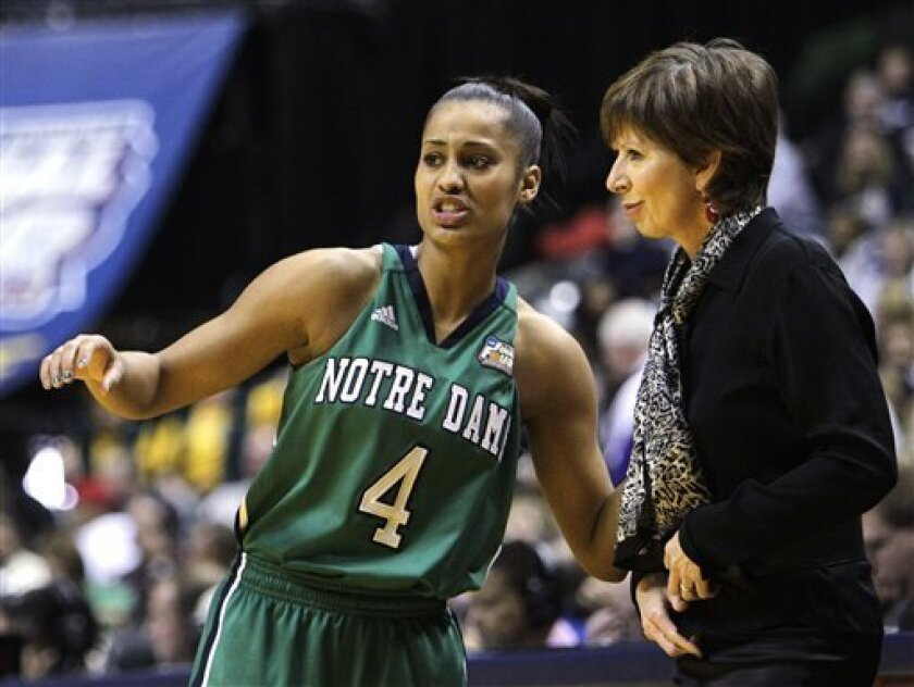 Notre Dame's Skylar Diggins (4) talks with head coach Muffet McGraw during a break in the second half of the women's NCAA Final Four college basketball championship game against Texas A&M in Indianapolis, Tuesday, April 5, 2011. (AP Photo/Mark Duncan)