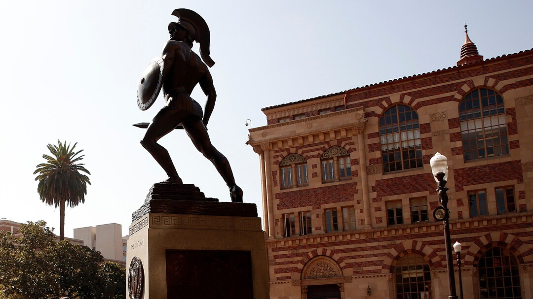 The Tommy Trojan statue at the center of the USC campus.