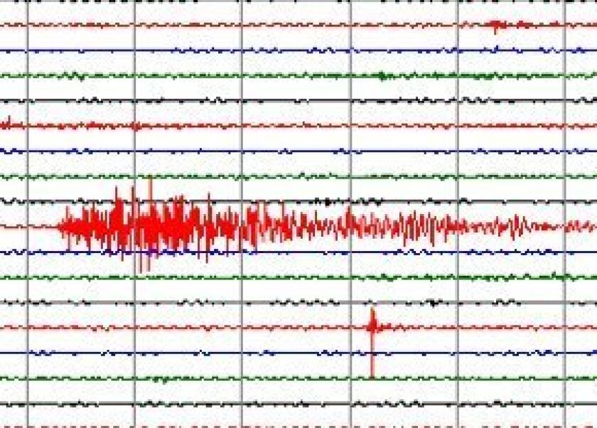 Today's earthquake as it appeared on a seismometer in Borrego Springs.