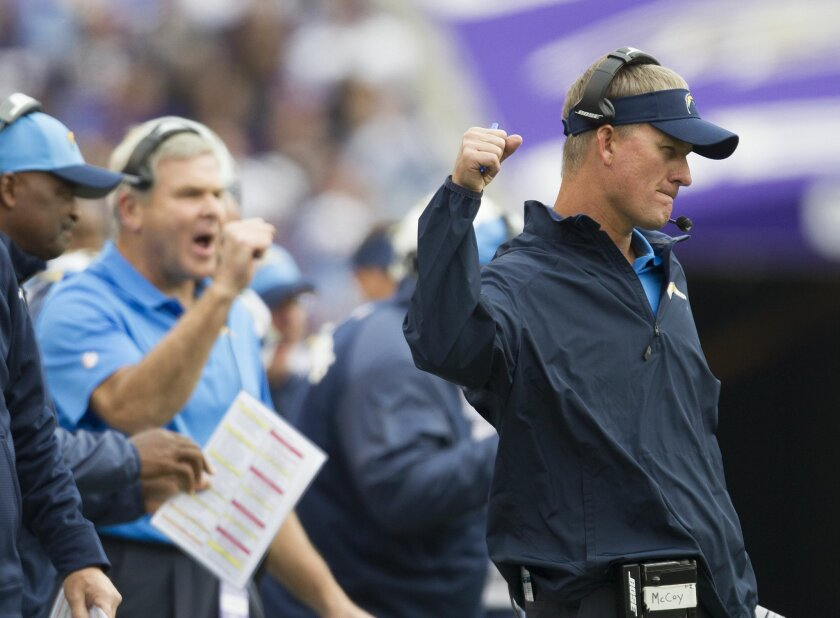 San Diego Chargers vs. Baltimore Ravens at M&T Bank Stadium. Chargers Head Coach Mike McCoy in the first half reacting to a call.