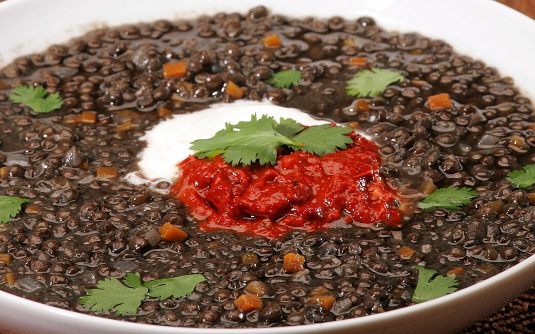 Beluga Lentil Soup With Tomato Pepper Harissa Recipe Los Angeles Times