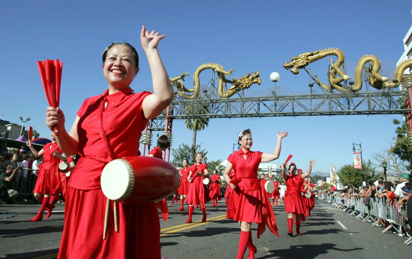 Members of the Chinese American Culture Assn. marched during the Golden Dragon Parade in Chinatown in 2008.