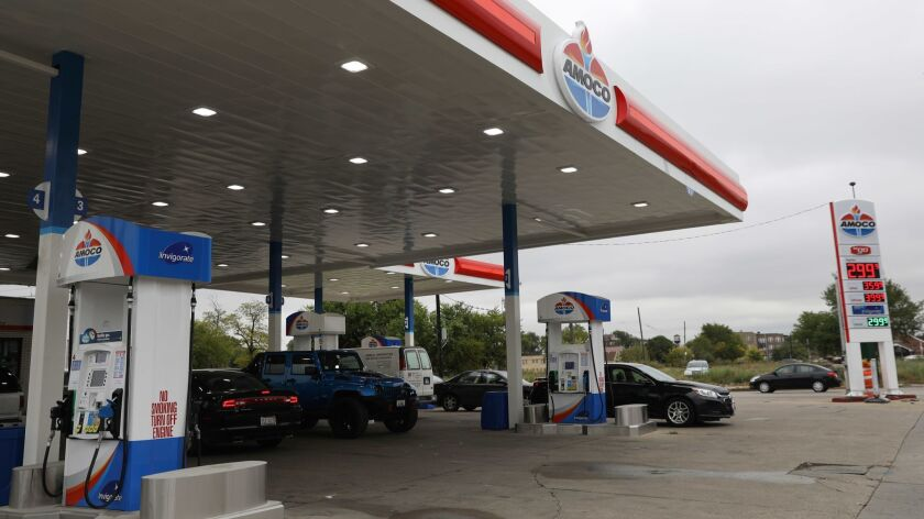 Amoco gas stations are returning to the Chicago area. Six stations, including this one at Roosevelt Road and Kostner Avenue, have erected the once-ubiquitous Amoco torch sign.