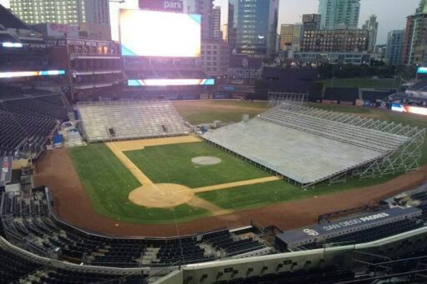 The basketball court will run down the third base line at Petco Park.