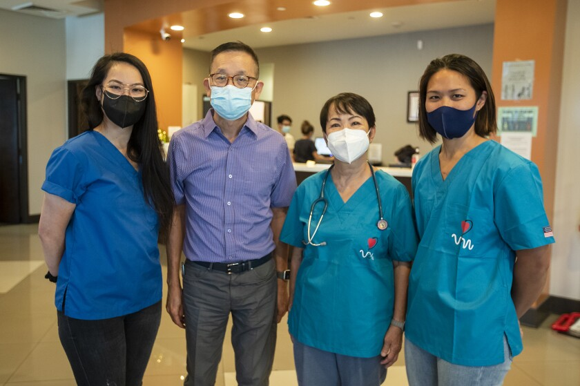 Project Vietnam members Tracy Thi Vinh Ngueyn, left, Hiep Truong, Quynh Kieu, and Nam Quyen.