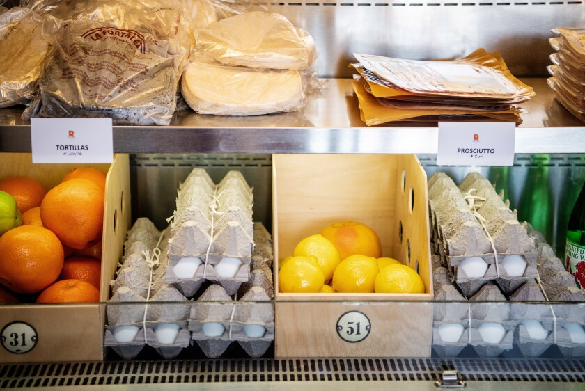 Röckenwagner Bakery & Cafe is one of many Los Angeles businesses adapting to the times by becoming a mini market, offering prepared food as well as fresh produce.