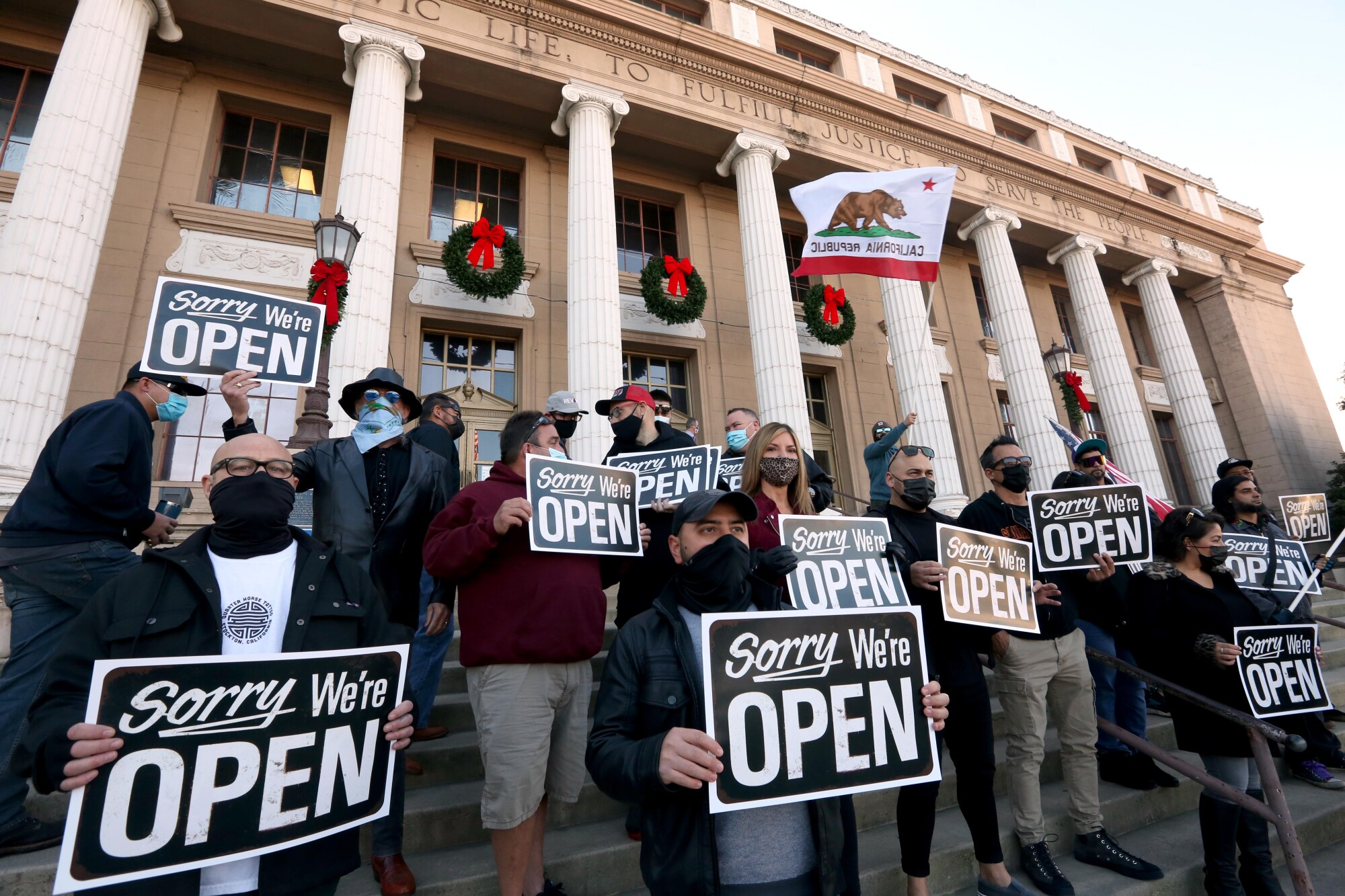 "Business owners make their statement for keeping open and call for local government to declare Stockton a ""sanctuary city"""