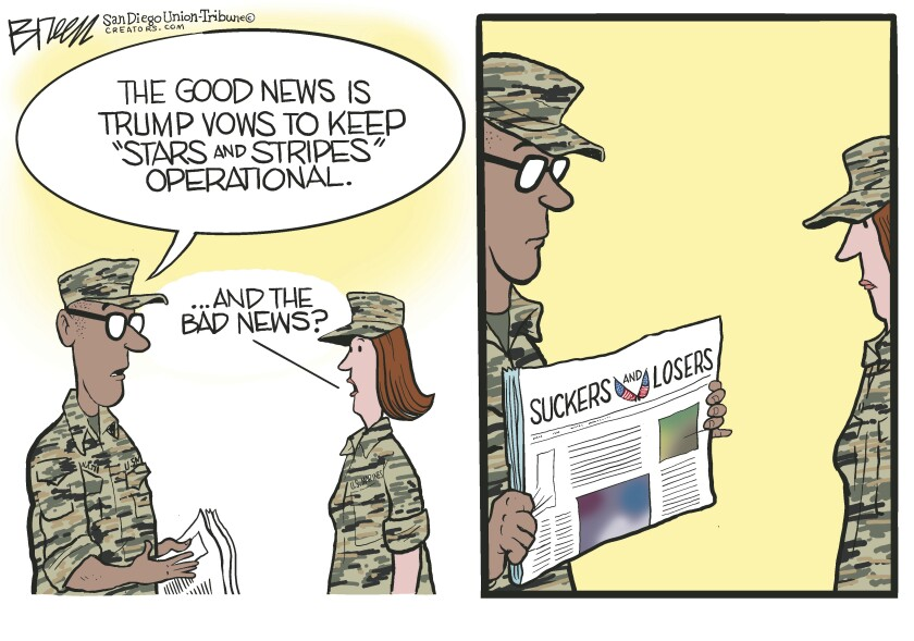 """In this Breen cartoon, Trump renames """"Stars and Stripes"""" newspaper """"Suckers and Losers"""""""