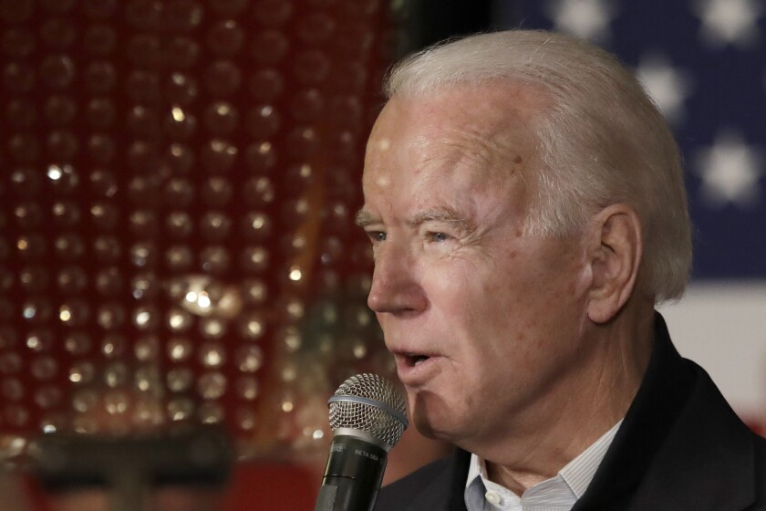 Democratic presidential candidate former Vice President Joe Biden speaks at a campaign event, Wednesday, Feb. 5, 2020, in Somersworth, N.H. (AP Photo/Elise Amendola)