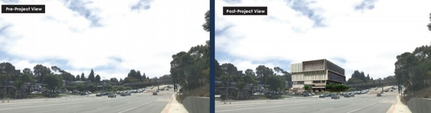 A before-and-after rendering of UC San Diego's planned La Jolla Innovation Center, as seen from La Jolla Village Drive.