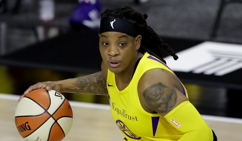 Los Angeles Sparks guard Riquna Williams during the second half of a WNBA basketball game.