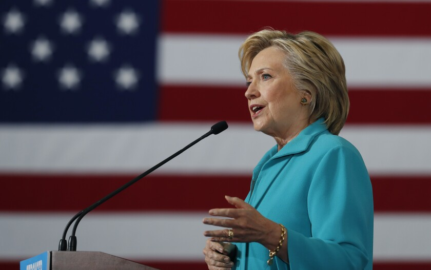 Democratic presidential nominee Hillary Clinton speaks in Reno on Thursday.