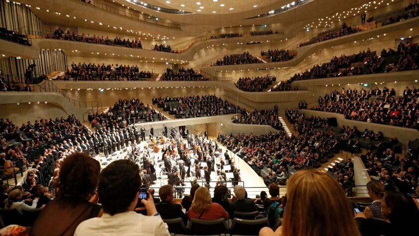 Inside the new Elbphilarmonie in Hamburg, Germany, on Friday during the concert attended by G-20 lea