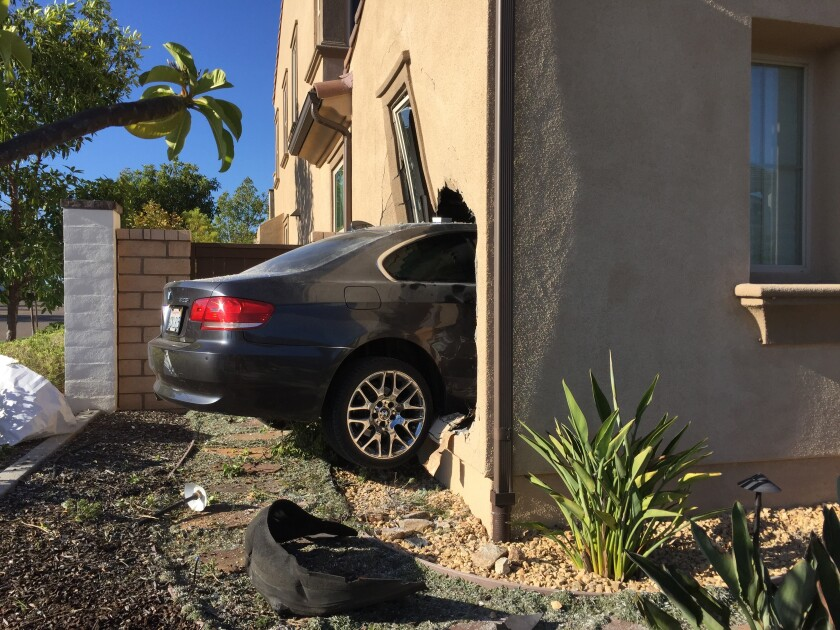 A car went into a Pacific Highlands Ranch home's garage on Aug. 16.