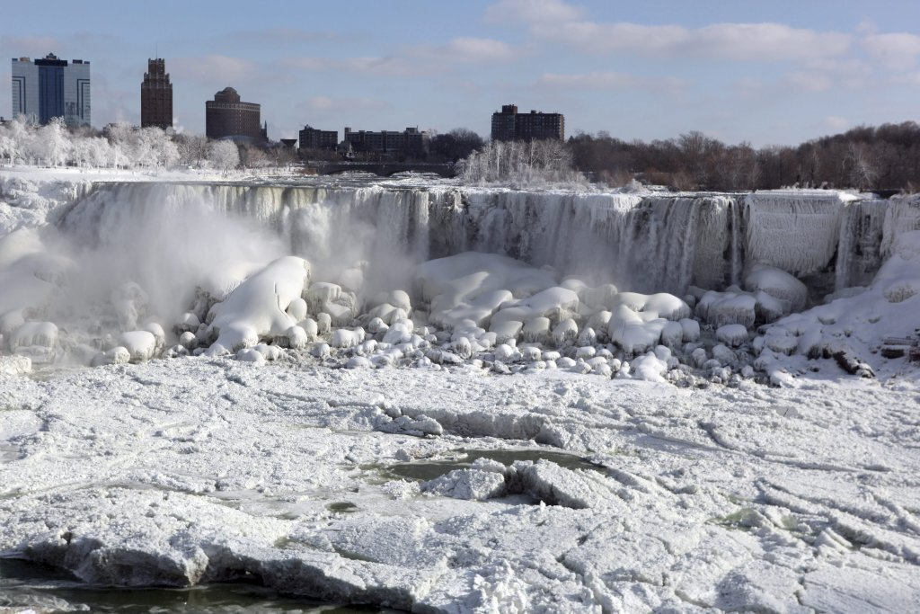 The cascade at Niagara Falls was a scene of steam, snow and ice amid the polar vortex.