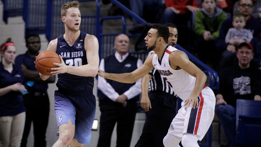 San Diego forward Cameron Neubauer (left vs. Gonzaga on Thursday) rebounded with 16 points on Saturday at Portland.