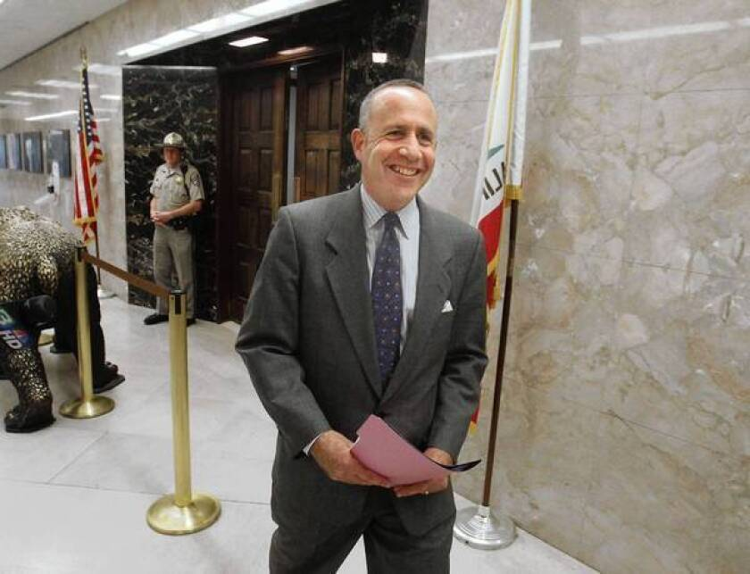 """Senate leader Darrell Steinberg is all smiles as he leaves the governor's office after a budget meeting with Jerry Brown and Assembly Speaker John Perez. Steinberg said Democratic leaders are closing in on a budget deal """"that I think accomplishes all of the things that we have sought to accomplish."""""""