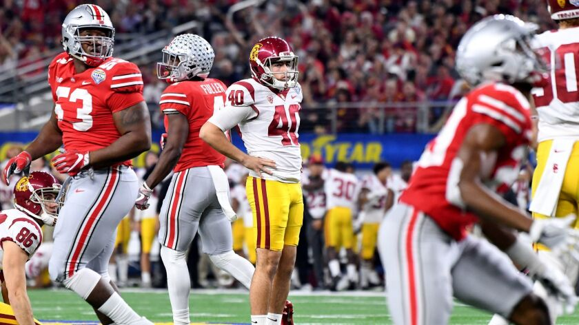 USC kicker Chase McGrath (40) missed this attempt against Ohio State in the Cotton Bowl but kicked well enough last season to earn a scholarship. He is battling Michael Brown in camp.