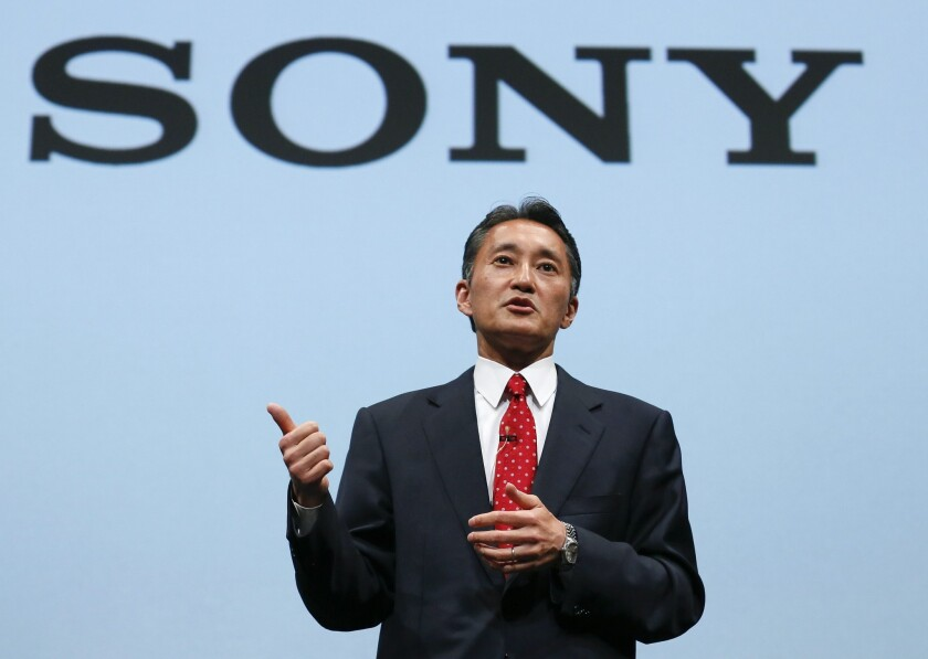Sony Corp. President and Chief Executive Officer Kazuo Hirai during a news conference at its headquarters in Tokyo, Japan.