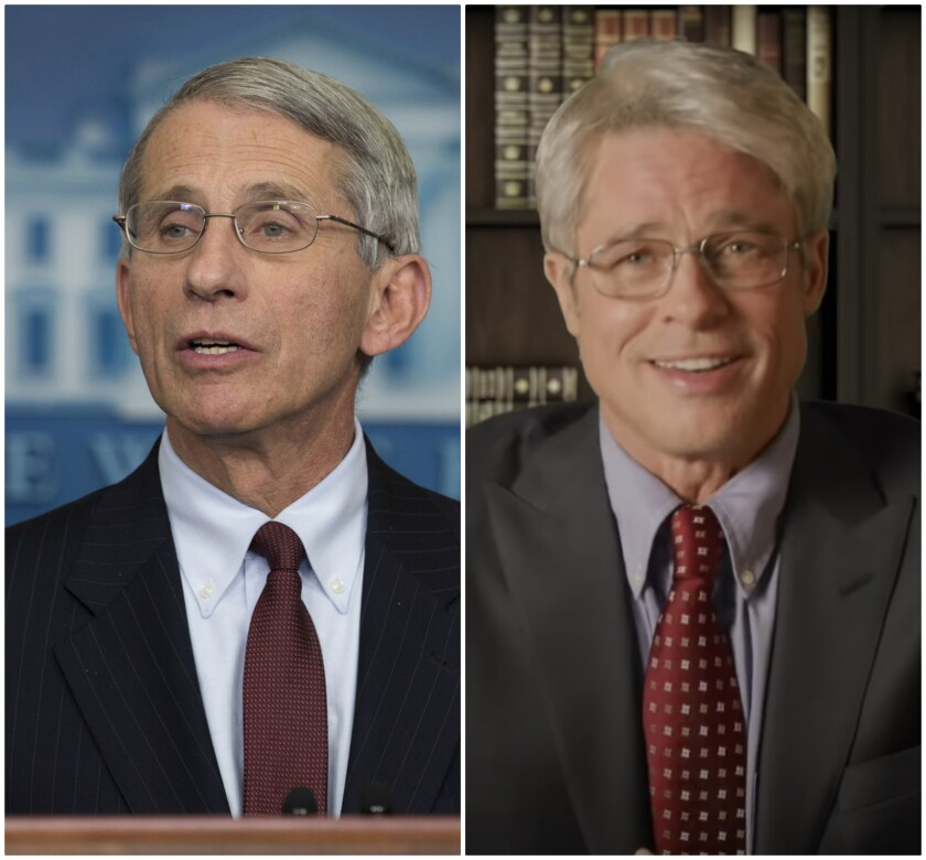 """Dr. Anthony Fauci, left, was portrayed by Brad Pitt on """"Saturday Night Live."""""""