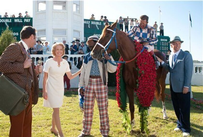 "In this publicity image released by Disney, from second left, Diane Lane, Nelsan Ellis, Otto Thorwarth, and John Malkovich are shown in a scene from, ""Secretariat."" (AP Photo/Disney, John Bramley)"