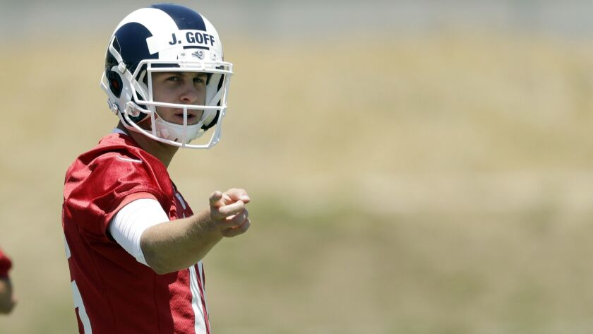 Los Angeles Rams quarterback Jared Goff (16) during an NFL football training camp Tuesday, May 28, 2