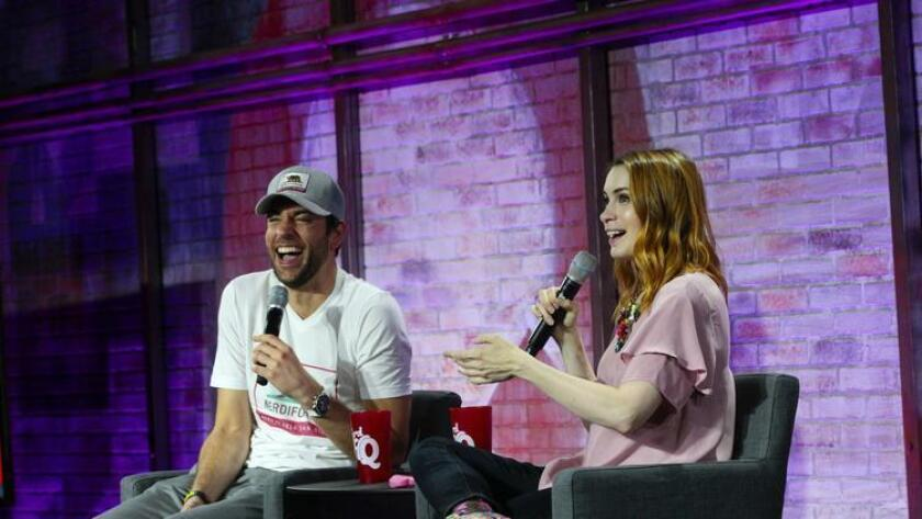 Felicia Day takes questions from fans at NerdHQ Conversations for a Cause panel with Zachary Levi moderating. (Nelvin C. Cepeda)