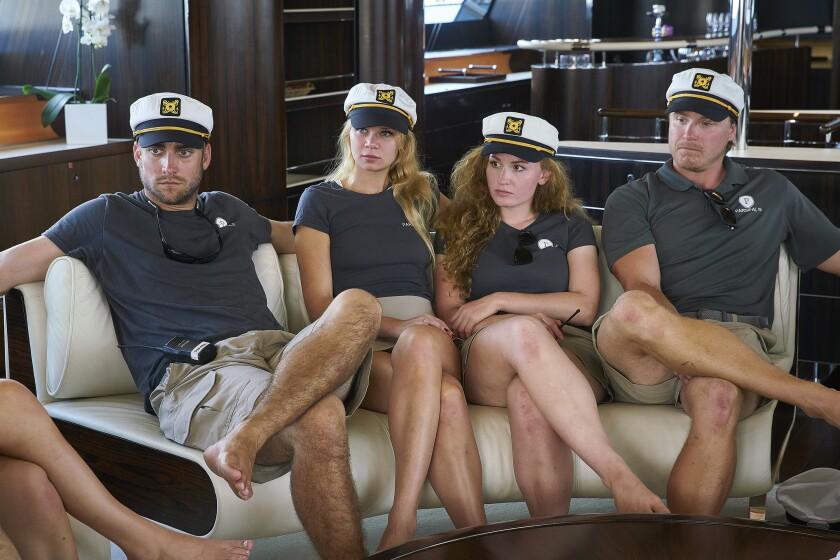 "Parker McCown, left, Madison Stalker, Ciara Duggan, Paget Berry in ""Below Deck Sailing Yacht."""