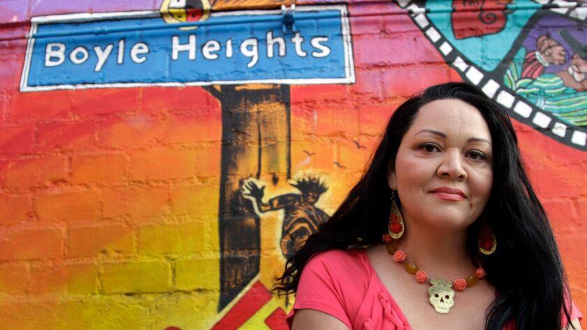 LOS ANGELES CA. JUN. 04, 2013. Playwright Josefina Lopez at the Casa 0101 theater mural in Boyle Hei