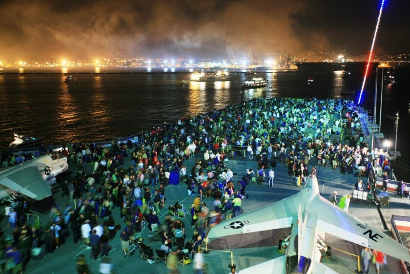 Each year, the Midway throws a party for about 3,500 people to view the Big Bay Boom fireworks.