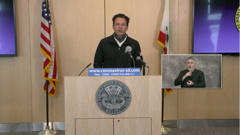 Supervisor Nathan Fletcher speaks during the county's daily briefing on COVID-19